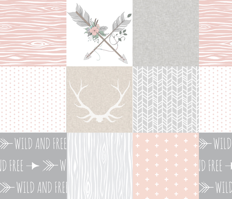 Boho Baby Girl Quilt - pink grey and cream linen fabric by sugarpinedesign on Spoonflower - custom fabric