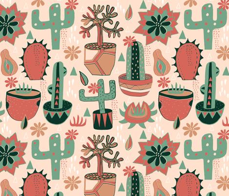 Sun Room Succulents fabric by slumbermonkey on Spoonflower - custom fabric