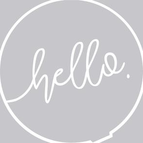 Play mat roundie fabric panel - Hello - Unisex Grey