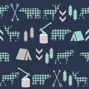plaid animals outdoors navy mint and grey boys fabric hunting sports
