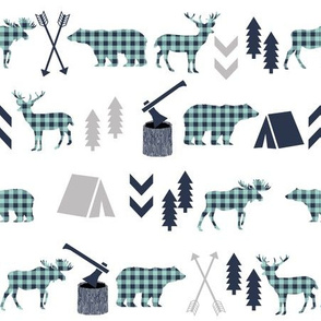 plaid animals navy mint and grey buffalo check boys room nursery fabric