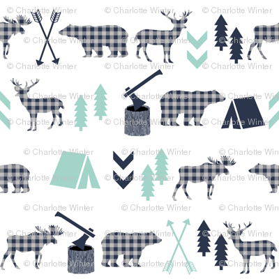 plaid animals navy mint and grey boys fabric