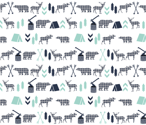 plaid animals navy mint and grey boys fabric fabric by charlottewinter on Spoonflower - custom fabric
