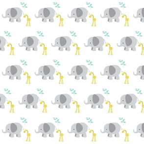 Elephant Giraffe 4 Gray  Mint leaves