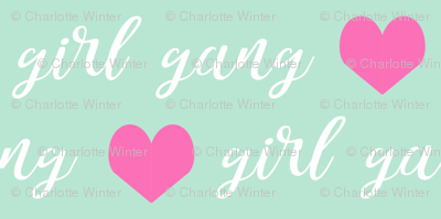girl gang fabric hearts and text cute girls fabric
