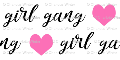 girl gang fabric hearts and text cute girls fabric tiny version