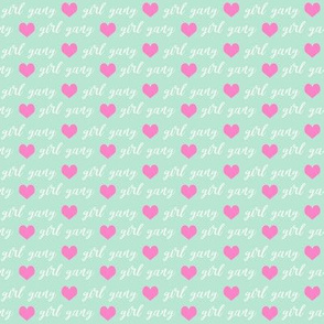 girl gang fabric hearts and text cute girls fabric mint tiny version