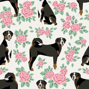 appenzeller sennehund - swiss mountain dog fabric roses floral dog design - off white - medium size