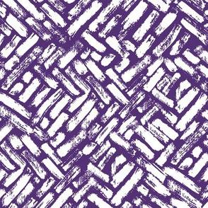 Brushstrokes Painterly Woven Weave Basket Chevron Pattern White and Purple