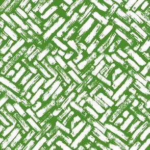 Brushstrokes Painterly Woven Weave Basket Chevron Pattern White and Green