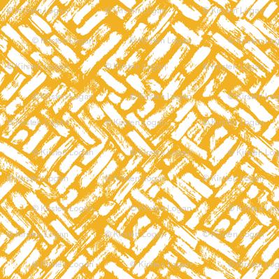 Brushstrokes Painterly Woven Weave Basket Chevron Pattern White and Yellow Gold