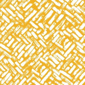 Brushstrokes Painterly Woven Weave Basket Chevron Pattern White and Yellow Gold