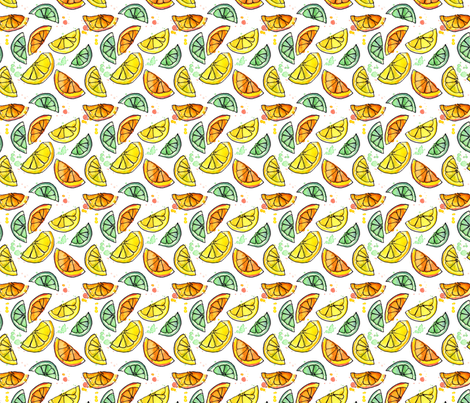 Zest for Life Citrus Fruit Print fabric by eileenmckenna on Spoonflower - custom fabric