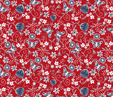 PapercutFloralBlueRed fabric by lenazembrowskij on Spoonflower - custom fabric