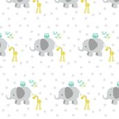 Elephant Giraffe 723 Gray  Mint leaves polka dots
