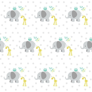 Elephant Giraffe 6 Gray  Mint leaves polka dots