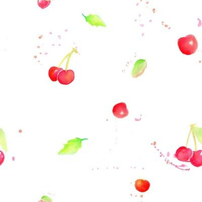 Watercolor Cherries on White