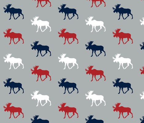 multi moose (grey) - the woodgrove collection fabric by littlearrowdesign on Spoonflower - custom fabric