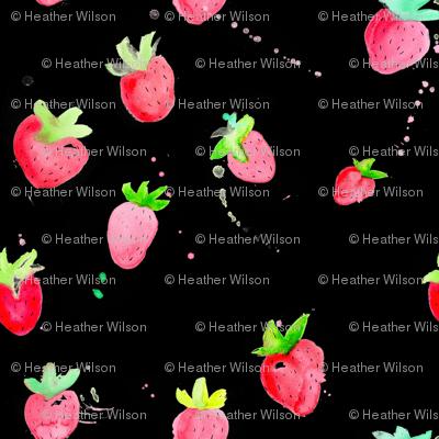 Watercolor Strawberries on Black