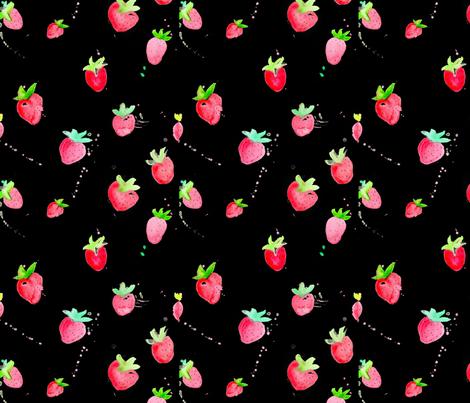 Watercolor Strawberries on Black fabric by geekygamergirl on Spoonflower - custom fabric