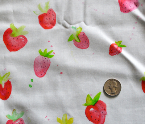 Watercolor Strawberries on White