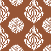 EASTERN FLORAL ABSTRACT Warm Brown