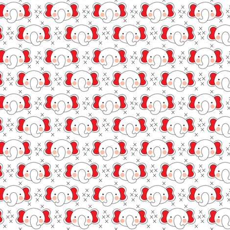 white elephant faces with pink ears fabric by lilcubby on Spoonflower - custom fabric