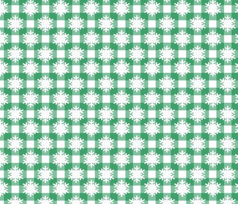 Snowflake Green Checks  fabric by littlelionworkshop on Spoonflower - custom fabric