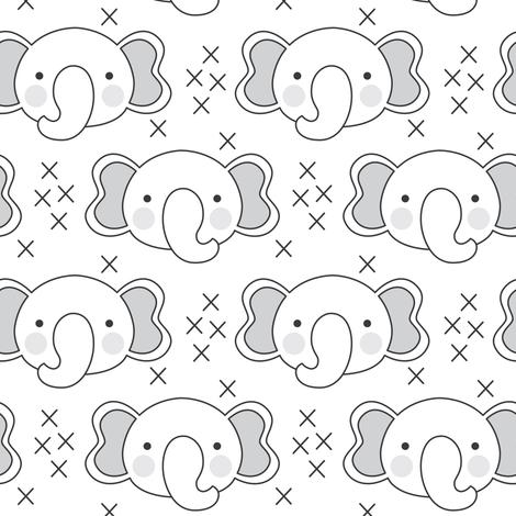elephant-faces with-grey-ears fabric by lilcubby on Spoonflower - custom fabric