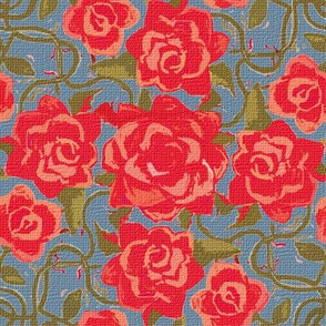 Twining Red Roses Textured