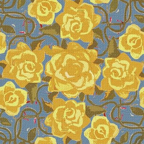 Twining Yellow Roses Textured