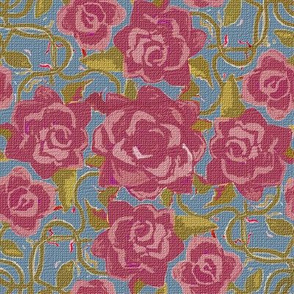 Twining Burgundy Roses Textured