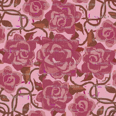 Rtwining_dark_pink_roses_on_pink_textured_preview