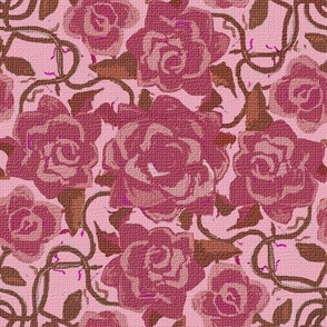 Twining Dark Pink Roses on Pink Textured