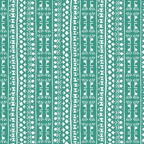 Tribal Warrior Stripe  Island Green fabric by shi_designs on Spoonflower - custom fabric