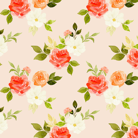 Peachy Soft Rose fabric by mintpeony on Spoonflower - custom fabric