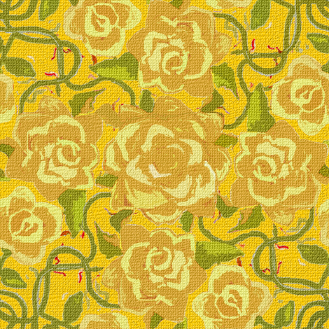 Twining Yellow Roses on Yellow Textured fabric by eclectic_house on Spoonflower - custom fabric