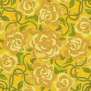 Twining Yellow Roses on Yellow Textured