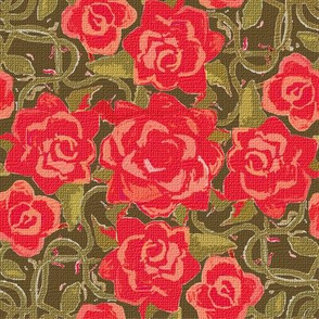 Twining Red Roses on Green Textured