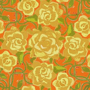 Twining Yellow Roses on Orange Textured