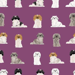 pekingese fabric - dogs pet dog design cute coat colors dog fabric - amethyst
