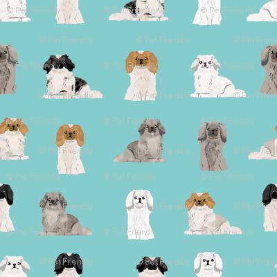 pekingese fabric - dogs pet dog design cute coat colors dog fabric - blue tint