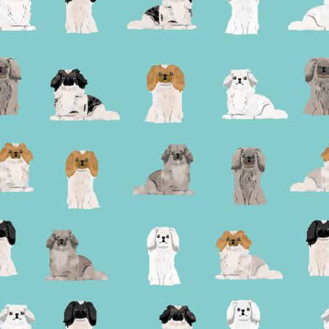 pekingese fabric - dogs pet dog design cute coat colors dog fabric - blue tint fabric by petfriendly on Spoonflower - custom fabric