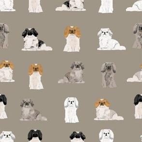 pekingese fabric - dogs pet dog design cute coat colors dog fabric - medium brown