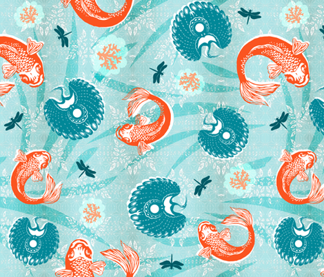 Sea and Sky Opposites Attract fabric by brainsarepretty on Spoonflower - custom fabric