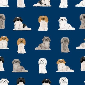 pekingese fabric - dogs pet dog design cute coat colors dog fabric - navy