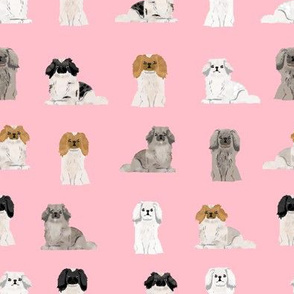 pekingese fabric - dogs pet dog design cute coat colors dog fabric - blossom pink