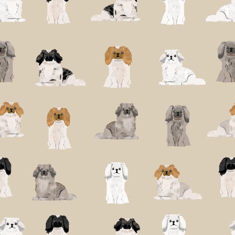pekingese fabric - dogs pet dog design cute coat colors dog fabric - sand fabric by petfriendly on Spoonflower - custom fabric