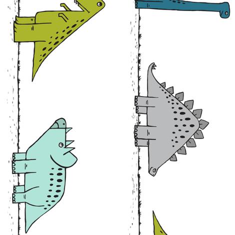 dinos on parade - multi  (90) fabric by littlearrowdesign on Spoonflower - custom fabric