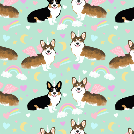 Sable and Tricolored corgi unicorns cute dogs and rainbows fabric fabric by petfriendly on Spoonflower - custom fabric